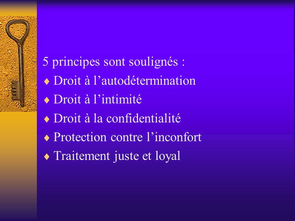 5 principes sont soulignés :