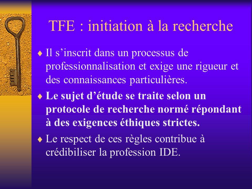 TFE : initiation à la recherche