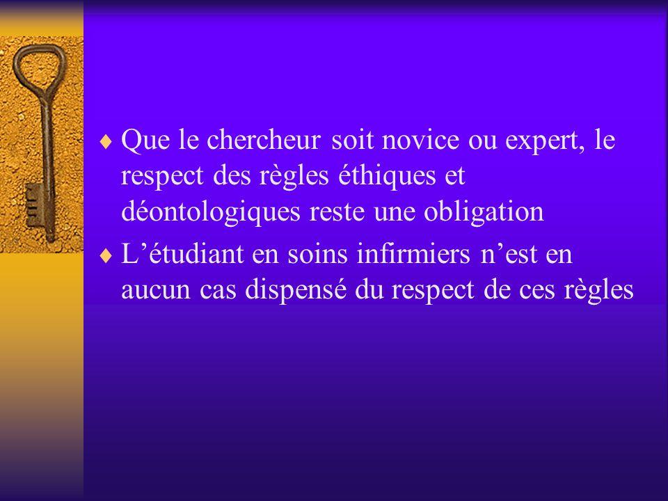 Que le chercheur soit novice ou expert, le respect des règles éthiques et déontologiques reste une obligation