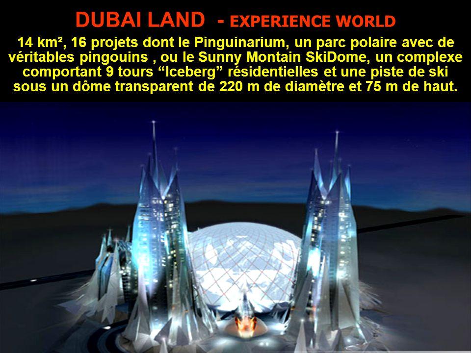 DUBAI LAND - EXPERIENCE WORLD 14 km², 16 projets dont le Pinguinarium, un parc polaire avec de véritables pingouins , ou le Sunny Montain SkiDome, un complexe comportant 9 tours Iceberg résidentielles et une piste de ski sous un dôme transparent de 220 m de diamètre et 75 m de haut.