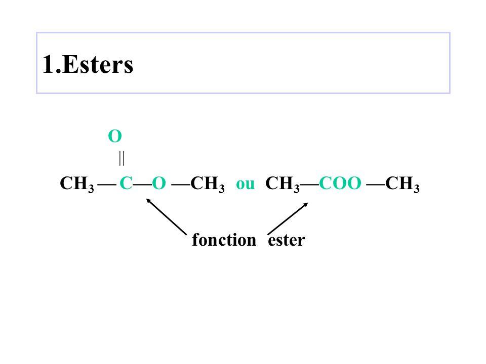 1.Esters O  CH3 — C—O —CH3 ou CH3—COO —CH3 fonction ester