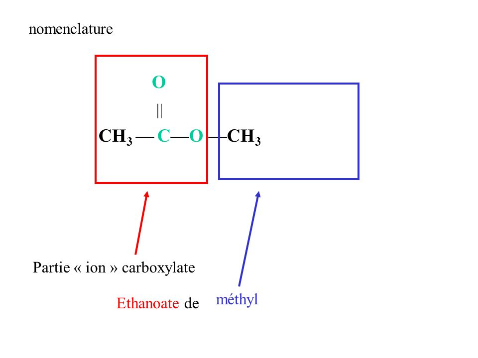 O  CH3 — C—O —CH3 nomenclature Partie « ion » carboxylate méthyl
