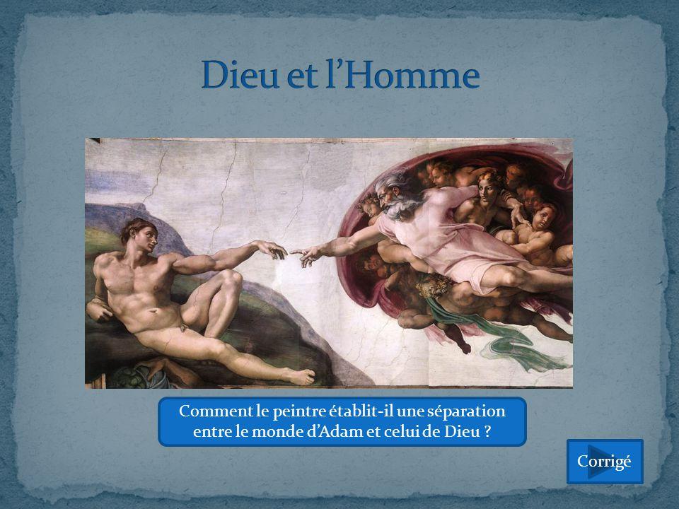 Dieu et l'Homme Comment le peintre établit-il une séparation entre le monde d'Adam et celui de Dieu