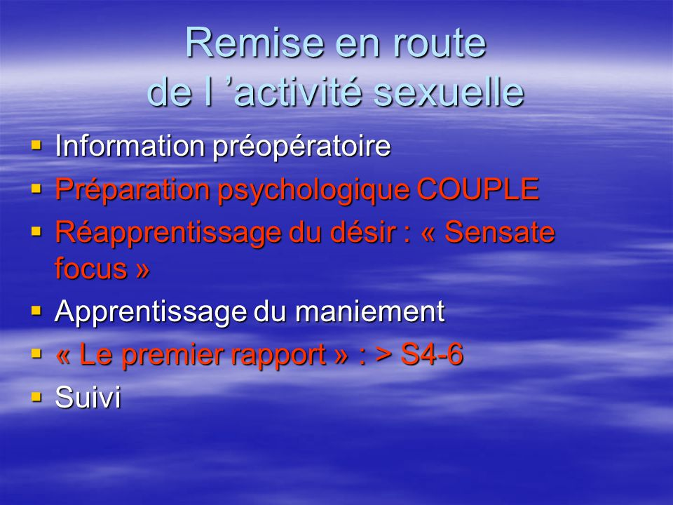 Remise en route de l 'activité sexuelle