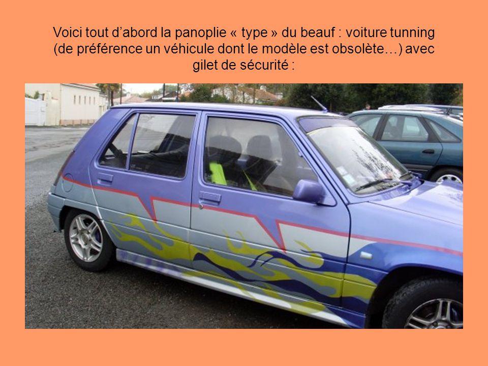 Voici tout d'abord la panoplie « type » du beauf : voiture tunning (de préférence un véhicule dont le modèle est obsolète…) avec gilet de sécurité :