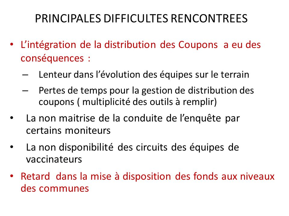 PRINCIPALES DIFFICULTES RENCONTREES
