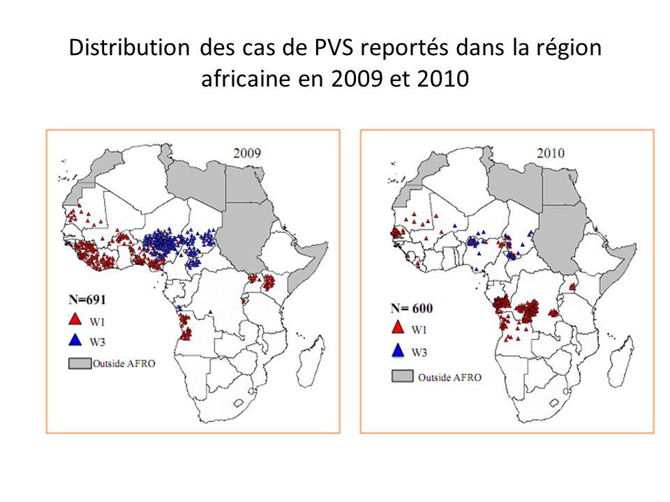 Distribution des cas de PVS reportés dans la région africaine en 2009 et 2010