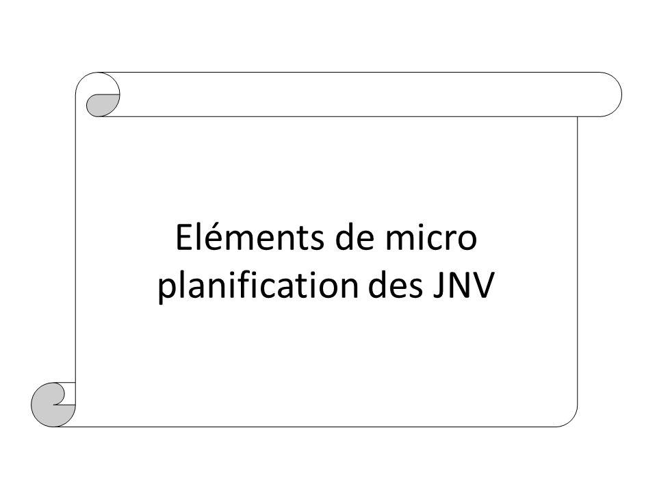Eléments de micro planification des JNV