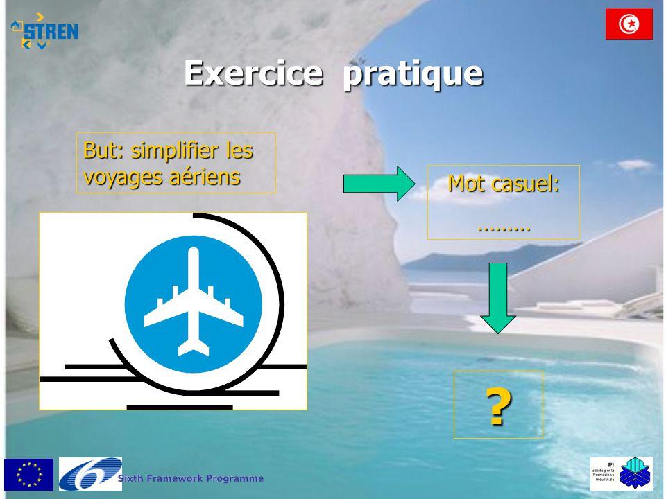 Exercice pratique But: simplifier les voyages aériens Mot casuel: