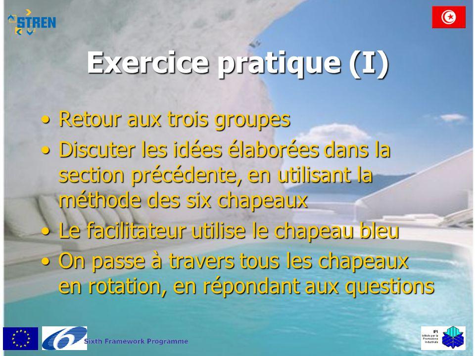 Exercice pratique (I) Retour aux trois groupes
