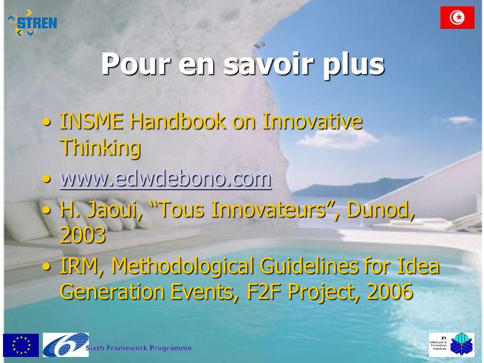 Pour en savoir plus INSME Handbook on Innovative Thinking
