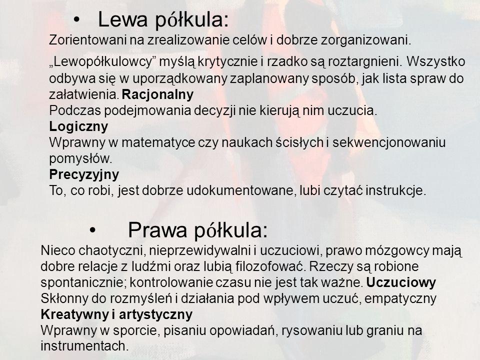 Lewa półkula: Prawa półkula: