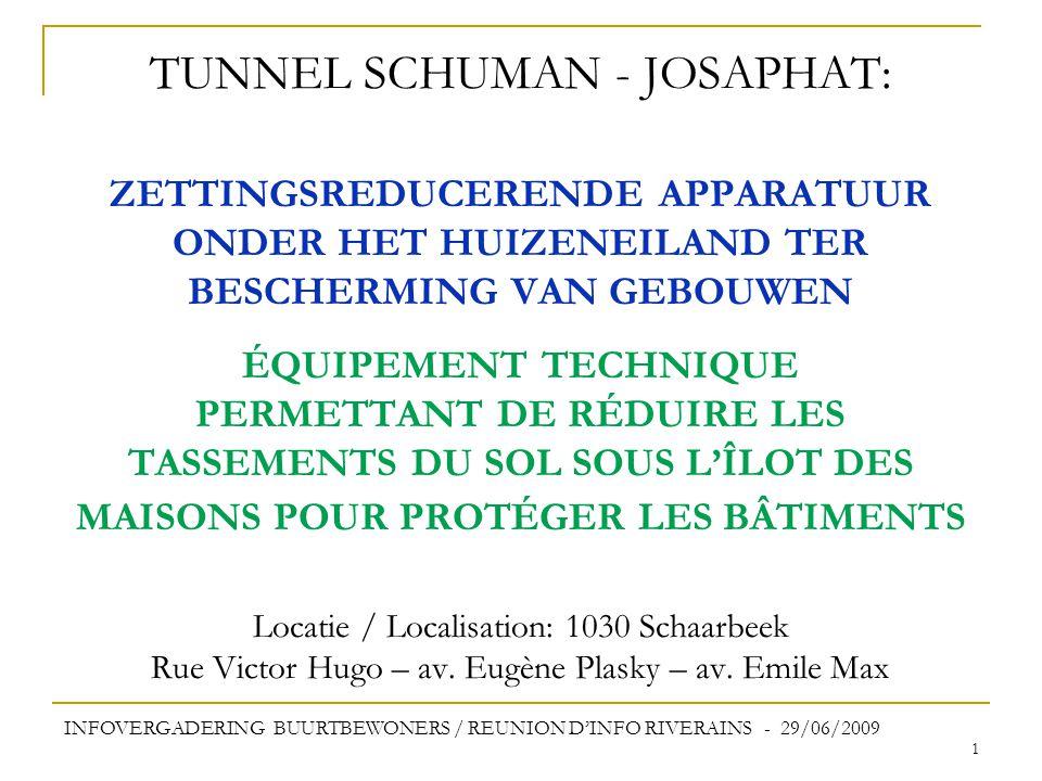 TUNNEL SCHUMAN - JOSAPHAT: ZETTINGSREDUCERENDE APPARATUUR ONDER HET HUIZENEILAND TER BESCHERMING VAN GEBOUWEN ÉQUIPEMENT TECHNIQUE PERMETTANT DE RÉDUIRE LES TASSEMENTS DU SOL SOUS L'ÎLOT DES MAISONS POUR PROTÉGER LES BÂTIMENTS Locatie / Localisation: 1030 Schaarbeek Rue Victor Hugo – av. Eugène Plasky – av. Emile Max