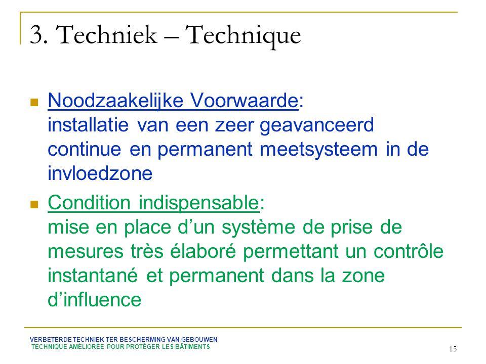 3. Techniek – Technique Noodzaakelijke Voorwaarde: installatie van een zeer geavanceerd continue en permanent meetsysteem in de invloedzone.