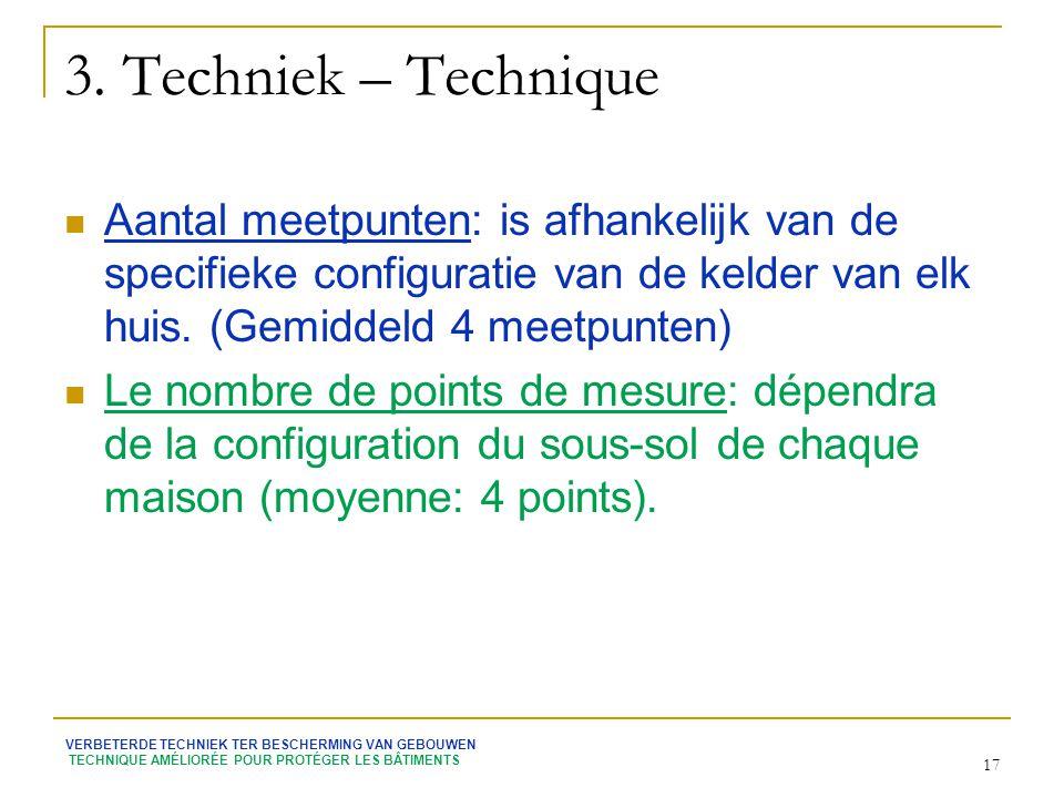 3. Techniek – Technique Aantal meetpunten: is afhankelijk van de specifieke configuratie van de kelder van elk huis. (Gemiddeld 4 meetpunten)