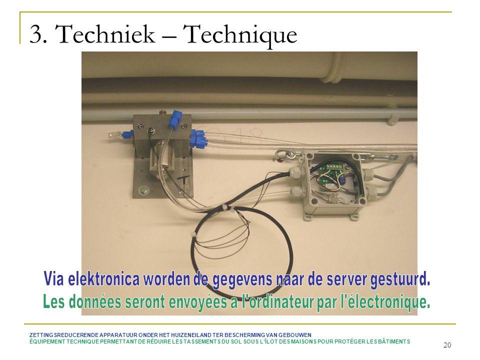 3. Techniek – Technique Via elektronica worden de gegevens naar de server gestuurd. Les données seront envoyées a l ordinateur par l électronique.