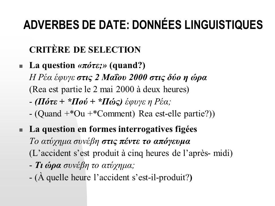 ADVERBES DE DATE: DONNÉES LINGUISTIQUES