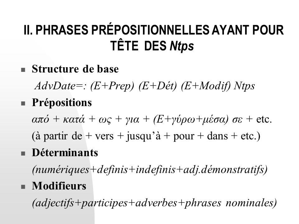 II. PHRASES PRÉPOSITIONNELLES AYANT POUR TÊTE DES Ntps