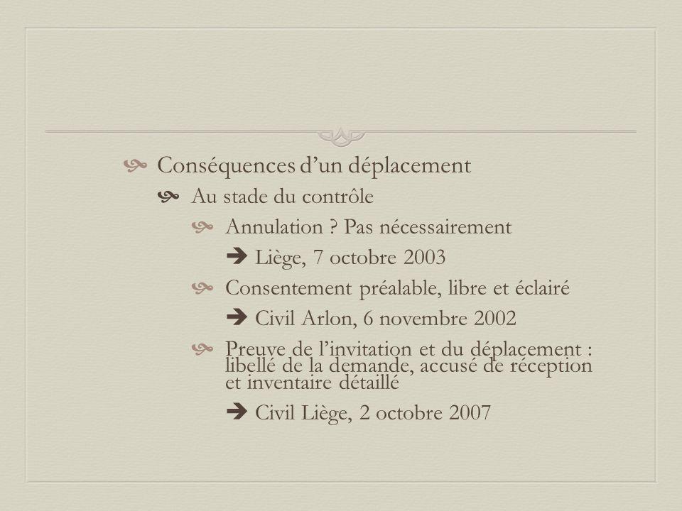 Conséquences d'un déplacement