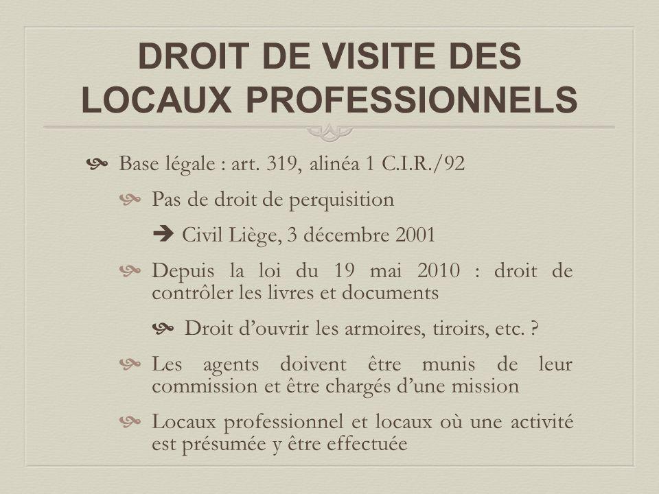 DROIT DE VISITE DES LOCAUX PROFESSIONNELS