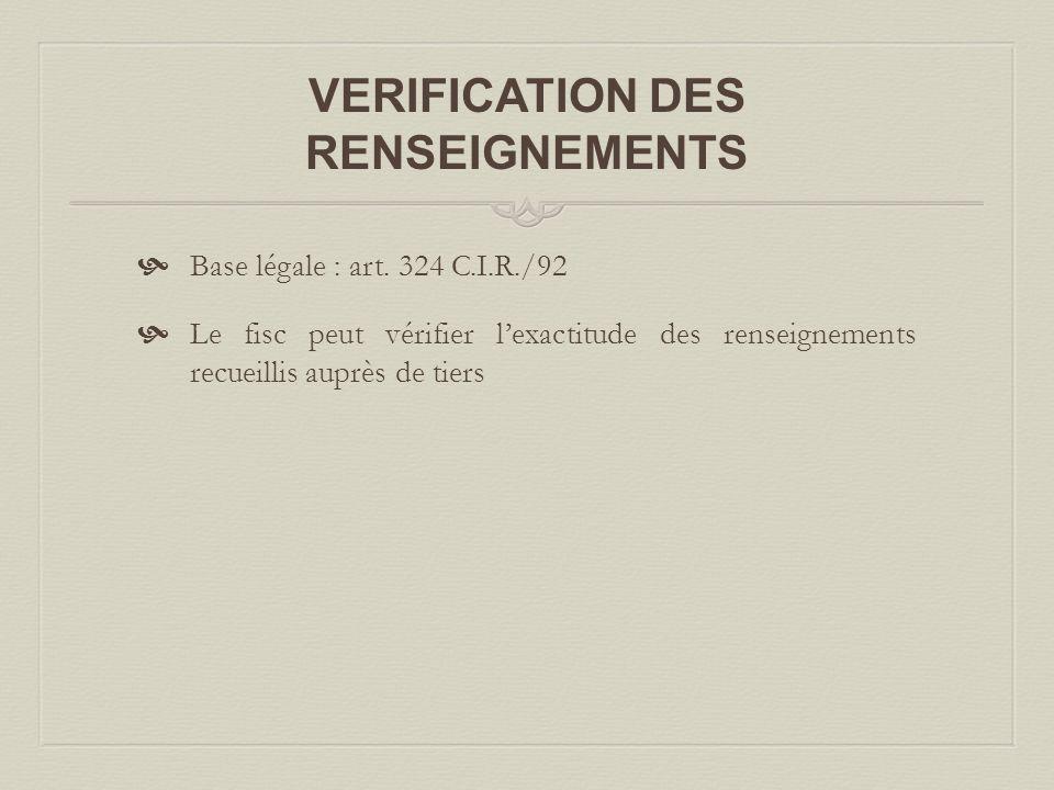 VERIFICATION DES RENSEIGNEMENTS