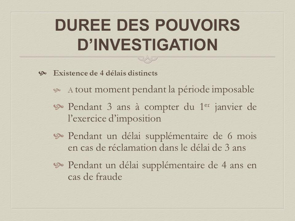 DUREE DES POUVOIRS D'INVESTIGATION
