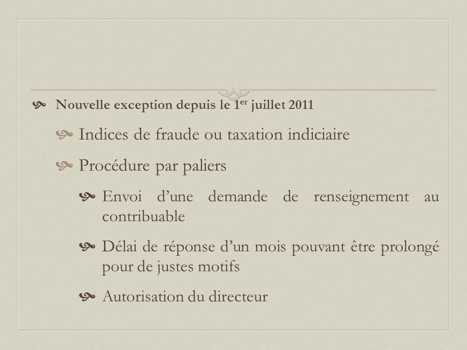 Indices de fraude ou taxation indiciaire Procédure par paliers