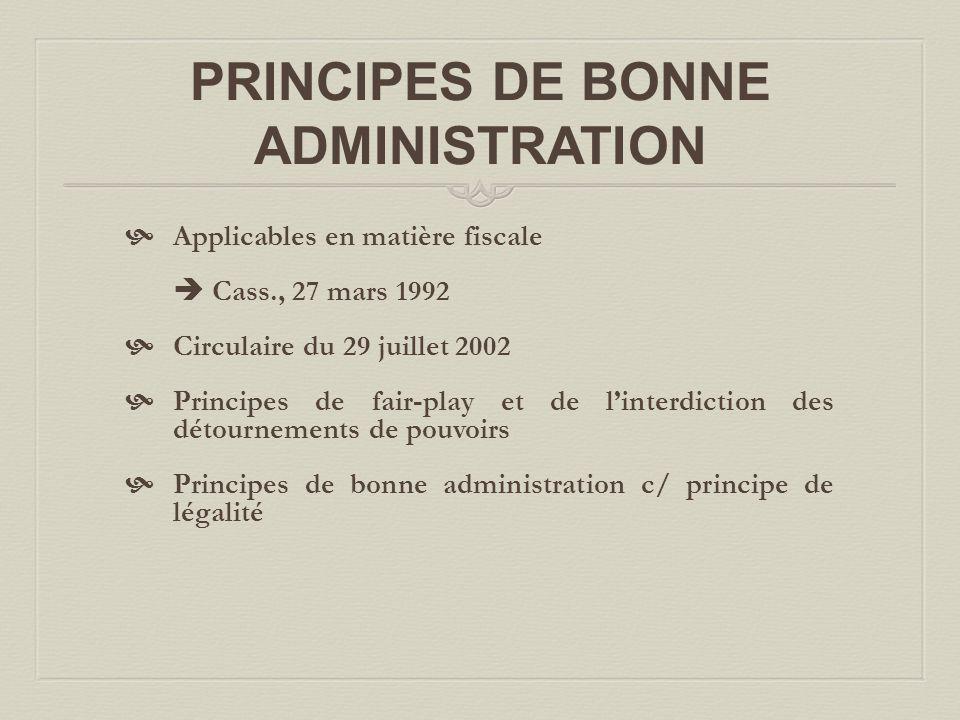PRINCIPES DE BONNE ADMINISTRATION
