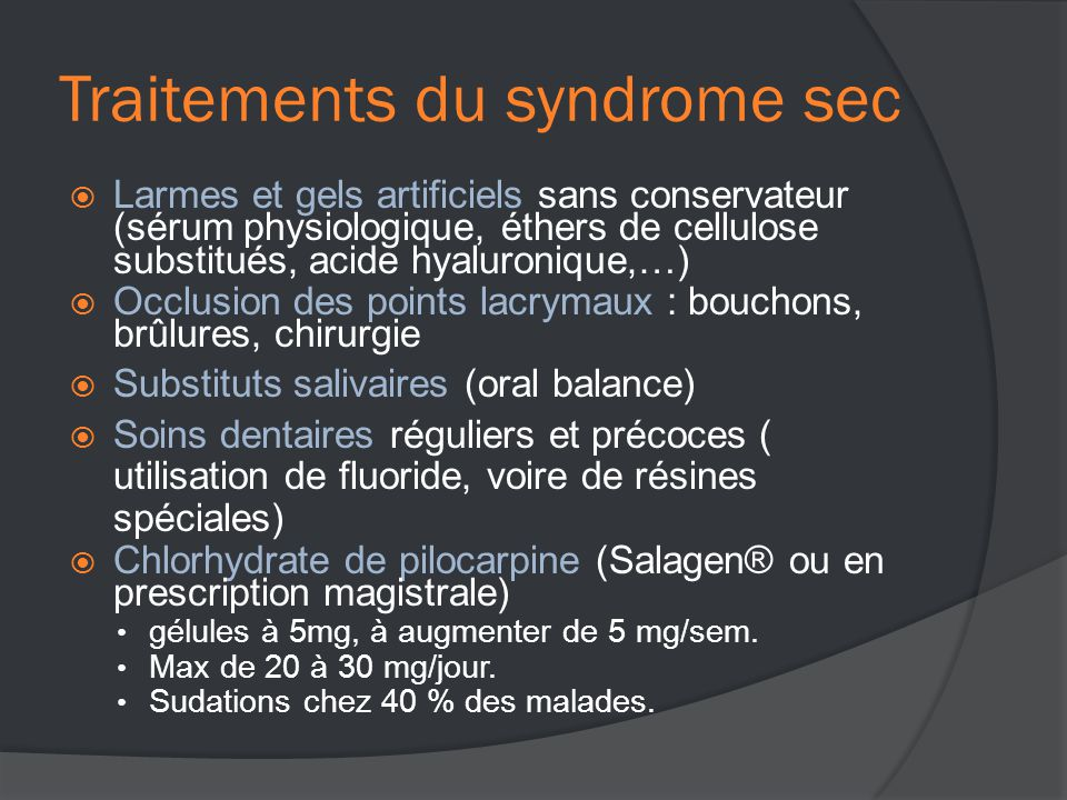 Traitements du syndrome sec