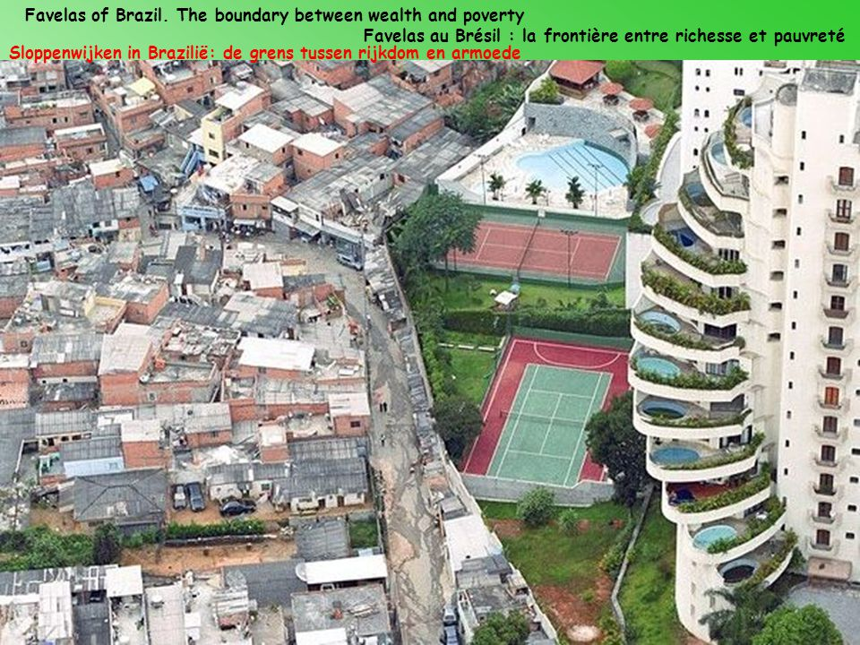 Favelas of Brazil. The boundary between wealth and poverty