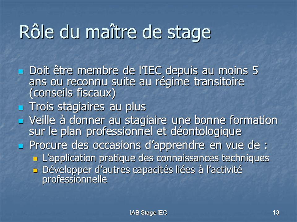 Rôle du maître de stage Doit être membre de l'IEC depuis au moins 5 ans ou reconnu suite au régime transitoire (conseils fiscaux)