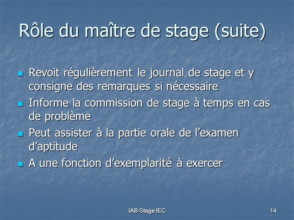 Rôle du maître de stage (suite)