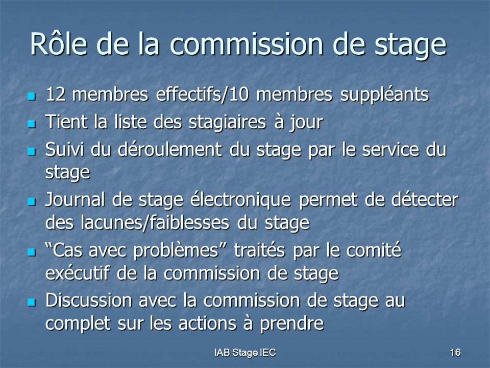 Rôle de la commission de stage