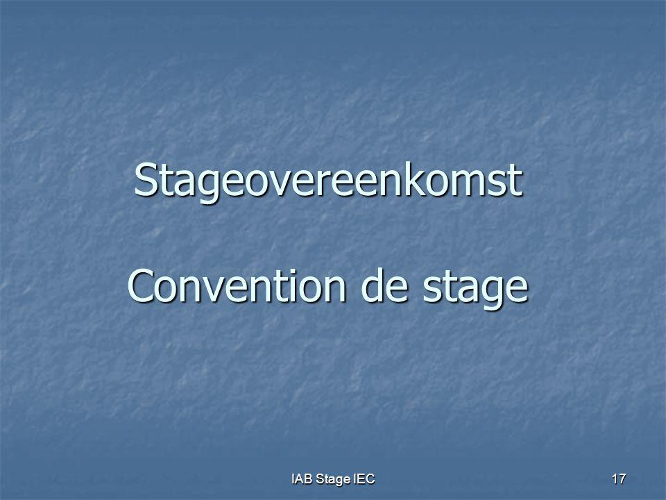 Stageovereenkomst Convention de stage