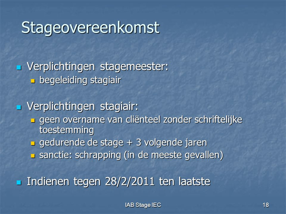 Stageovereenkomst Verplichtingen stagemeester: