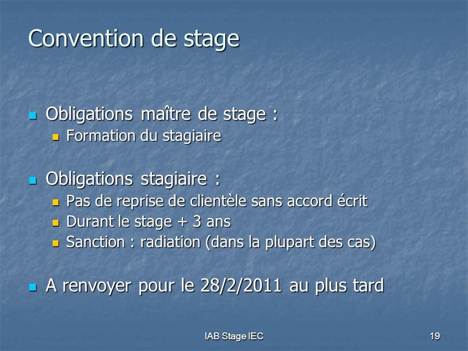 Convention de stage Obligations maître de stage :