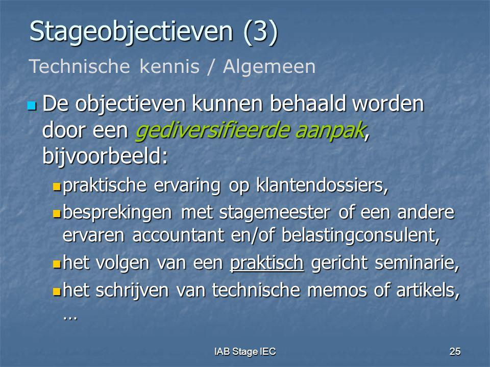 Stageobjectieven (3) Technische kennis / Algemeen. De objectieven kunnen behaald worden door een gediversifieerde aanpak, bijvoorbeeld: