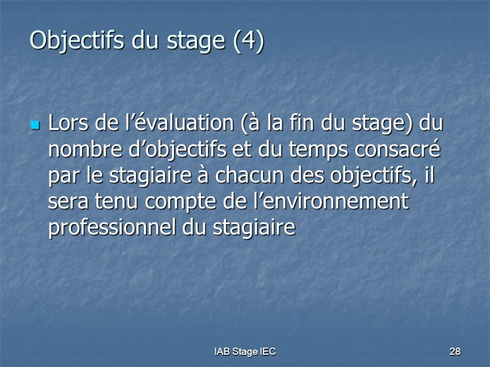 Objectifs du stage (4)
