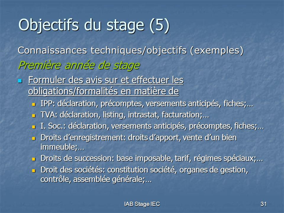 Objectifs du stage (5) Première année de stage