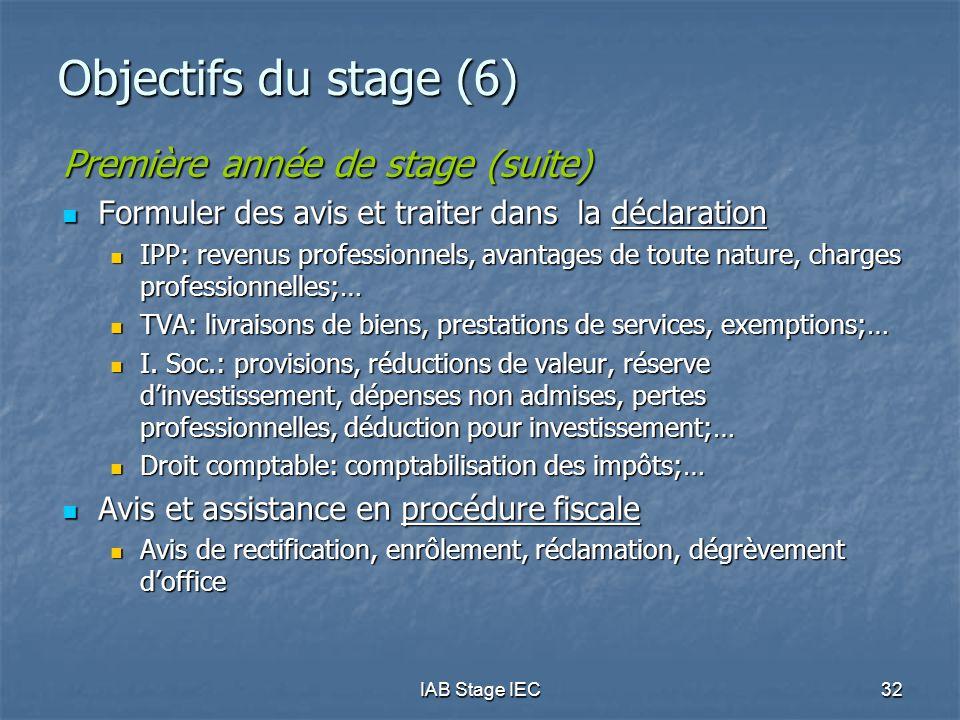 Objectifs du stage (6) Première année de stage (suite)