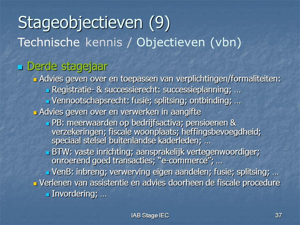 Stageobjectieven (9) Technische kennis / Objectieven (vbn)
