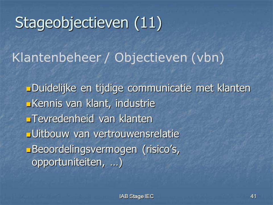 Stageobjectieven (11) Klantenbeheer / Objectieven (vbn)