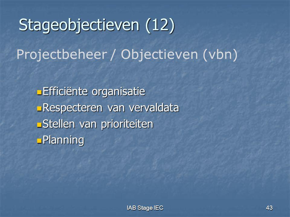 Stageobjectieven (12) Projectbeheer / Objectieven (vbn)