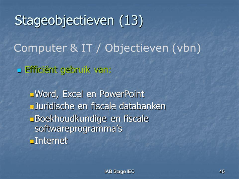 Stageobjectieven (13) Computer & IT / Objectieven (vbn)