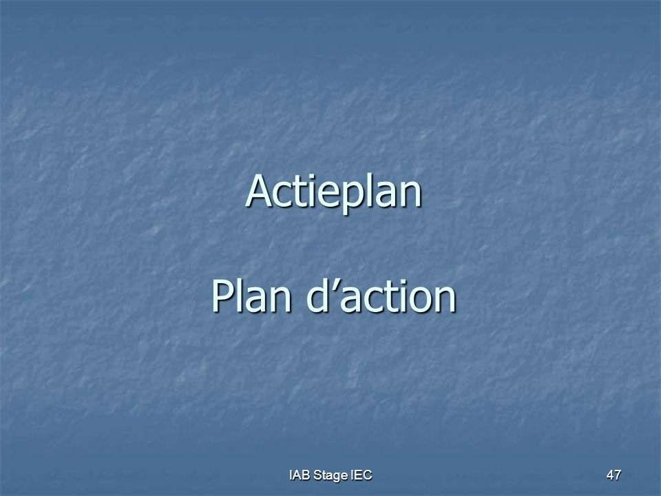 Actieplan Plan d'action