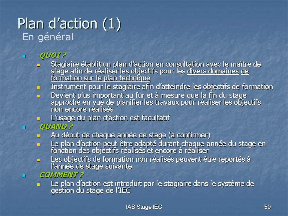 Plan d'action (1) En général QUOI