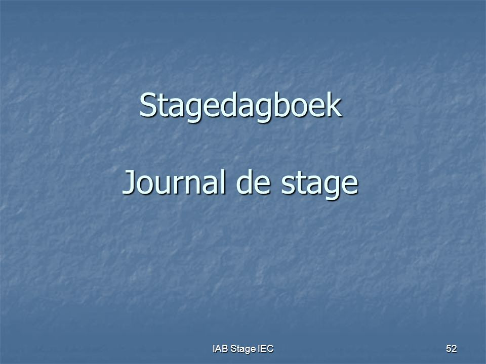 Stagedagboek Journal de stage
