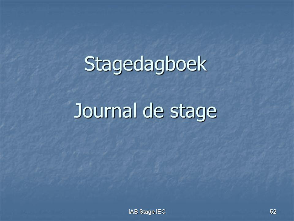 Stagedagboek Journal de stage