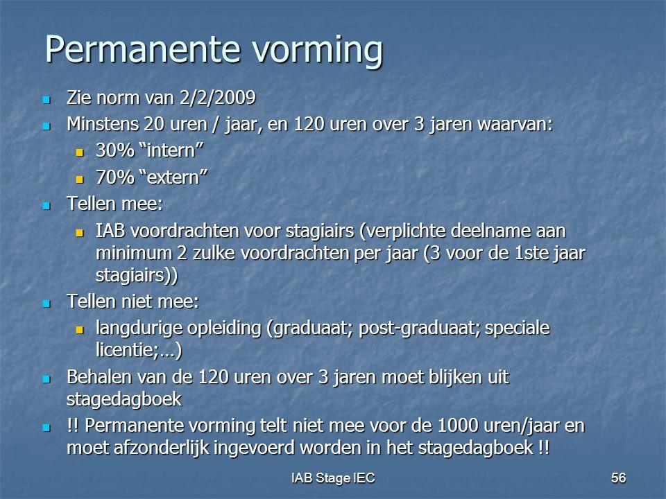 Permanente vorming Zie norm van 2/2/2009