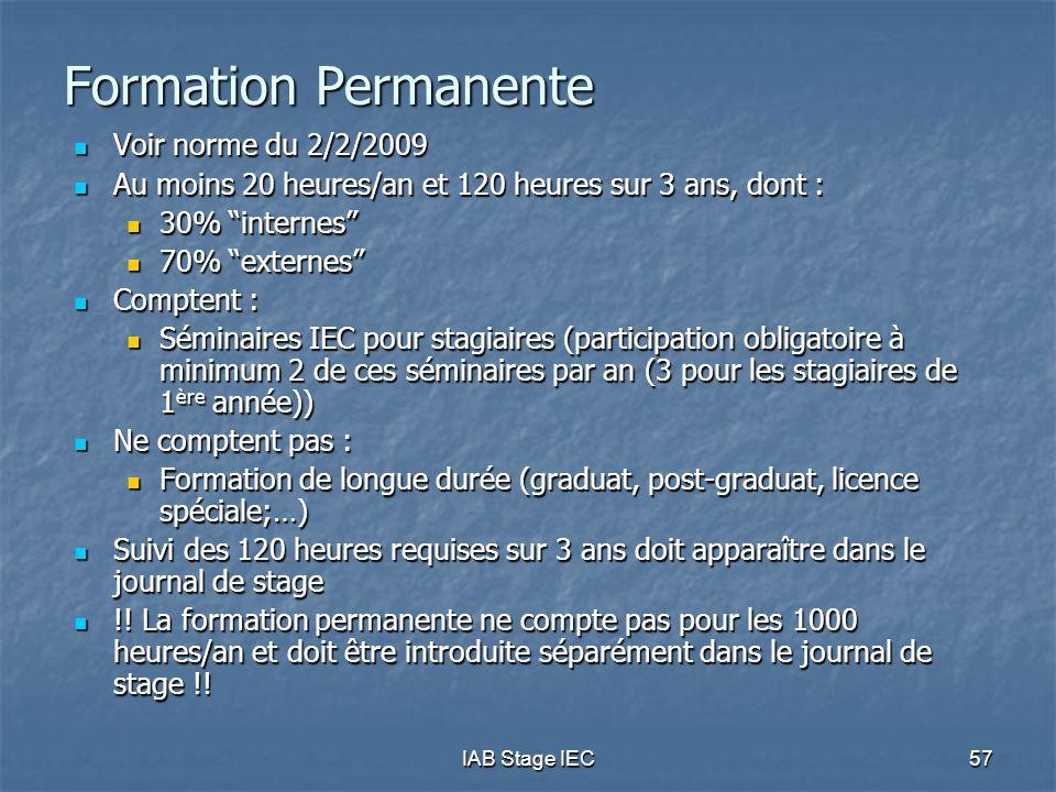 Formation Permanente Voir norme du 2/2/2009